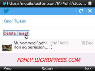 Mobile Twitter# Delete Tweet
